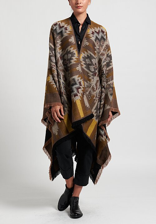 Etro Stairstep Diamond Cape in Gold/ Grey