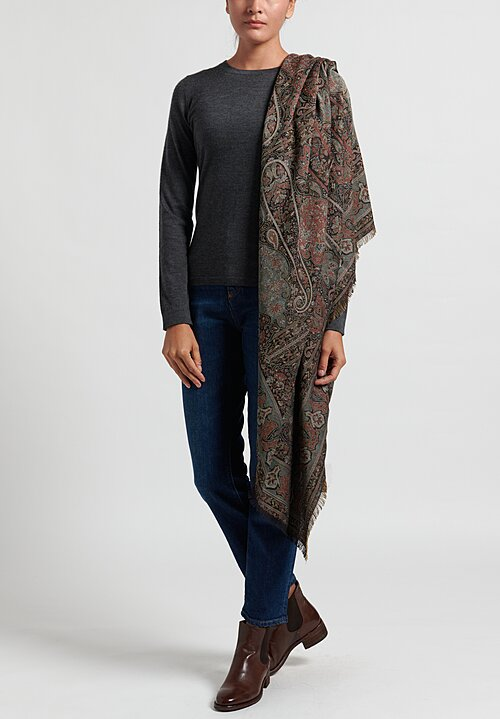 Etro Elegant Paisley Shawl in Black/ Teal