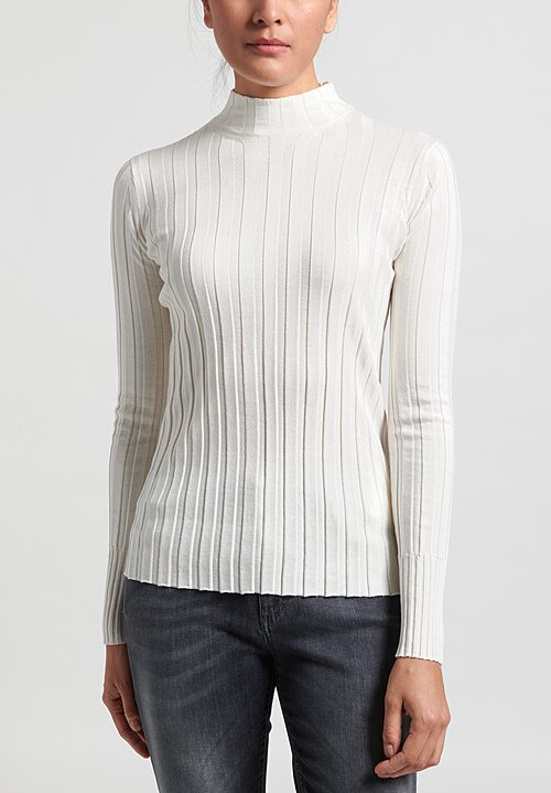Nells Nelson Silk/Cotton Rib Knit Sweater