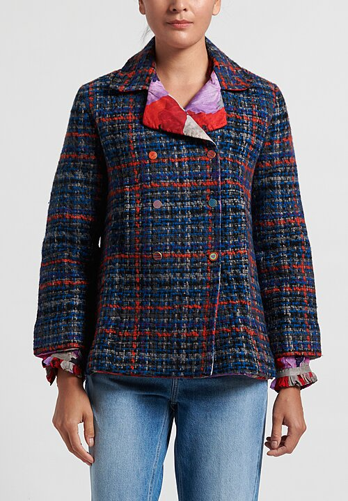 Pero Tweed Reversible Jacket in Blue Plaid/ Red Floral