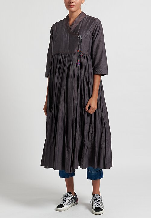 Pero Long Wrap Dress in Grey