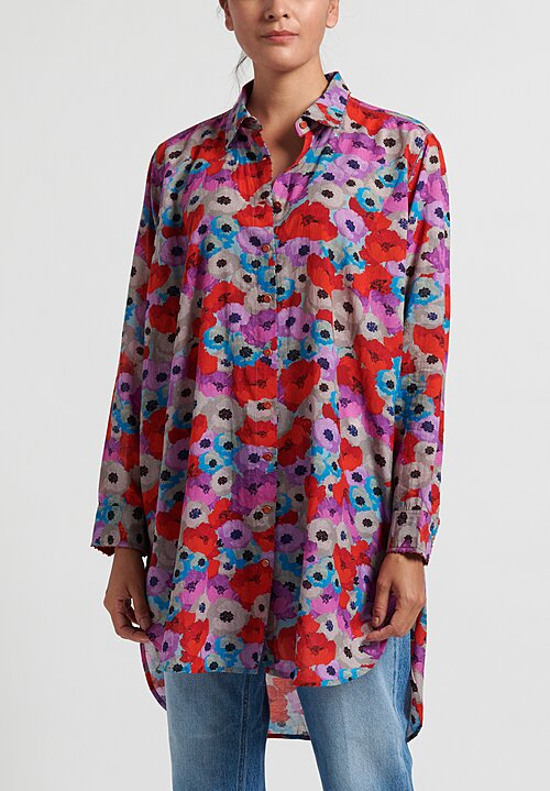 Pero Floral Long Sleeve Tunic in Red/ Purple