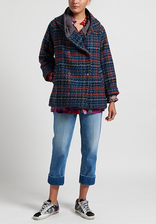 Pero Hooded Tweed Jacket in Blue