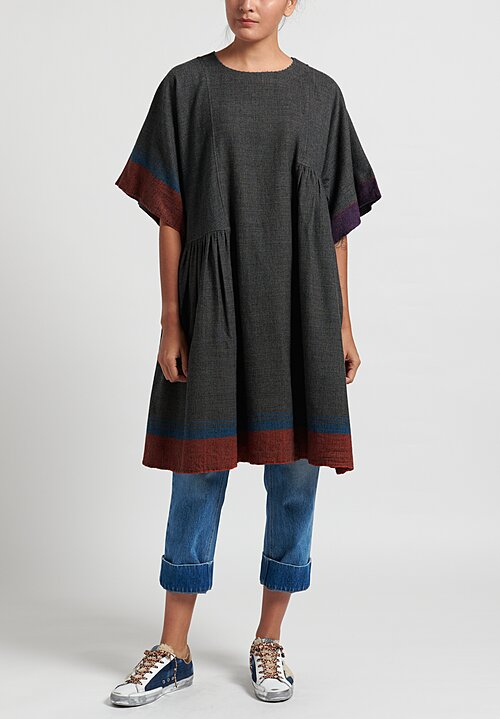 Pero Asymmetric Gathered Tunic Dress in Grey