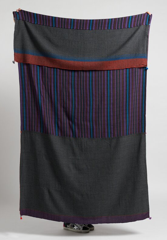 Pero Striped Panel Scarf in Grey