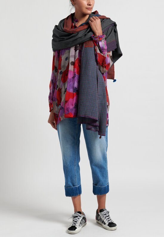 Péro Wool Striped Border Scarf in Grey Multi