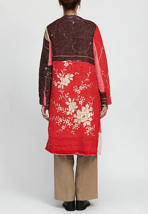 By Walid 19th C. Embroidery Tanita Coat in Maroon