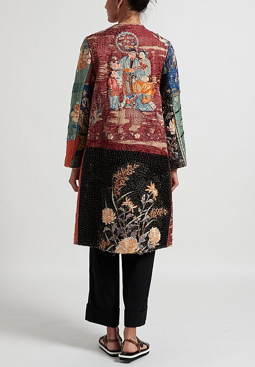By Walid 19th C. Embroidery Dragon Tanita Coat in Red