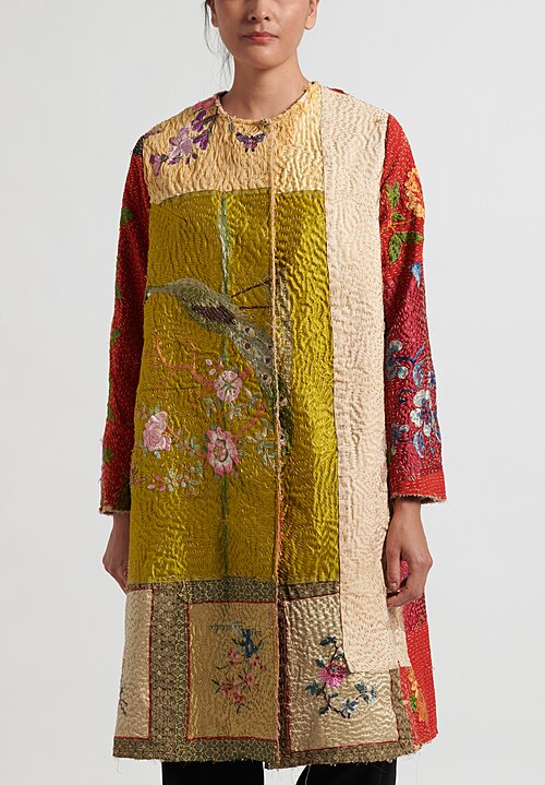 By Walid 19th C. Embroidery Peacock Tanita Coat