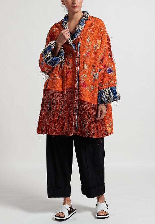 By Walid Silk Piano Shawl Basma Coat in Orange
