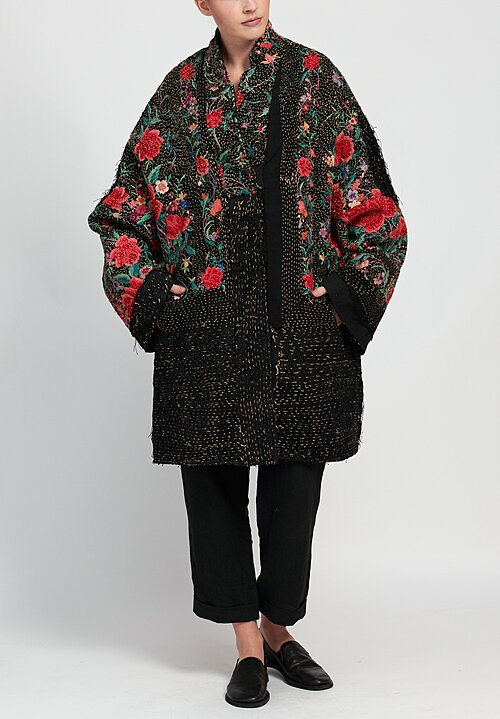 By Walid Piano Shawl Wadded Basma Coat in Black/ Rose