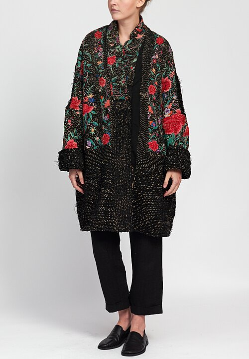 By Walid Piano Shawl Wadded Basma Coat in Black