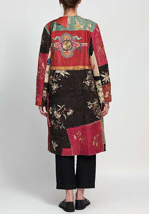 By Walid Silk Chinese Panel Tanita Coat in Black