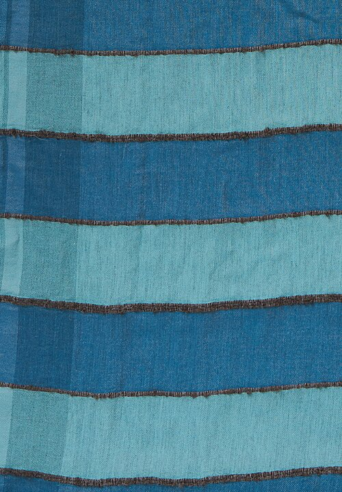 Oska Textured Striped Scarf in Blue
