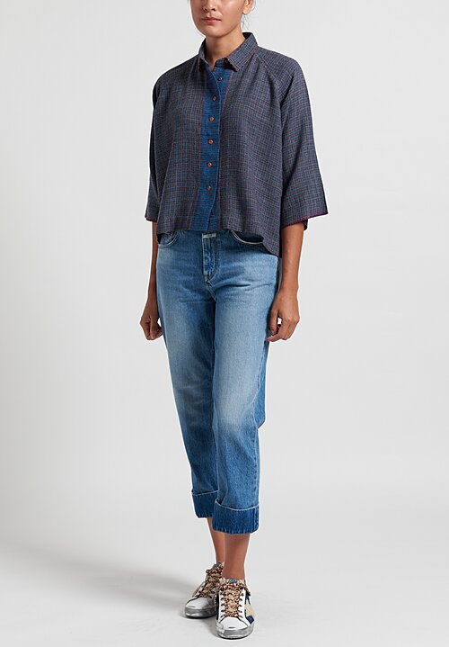 Pero Wool Button Up Top in Blue Check