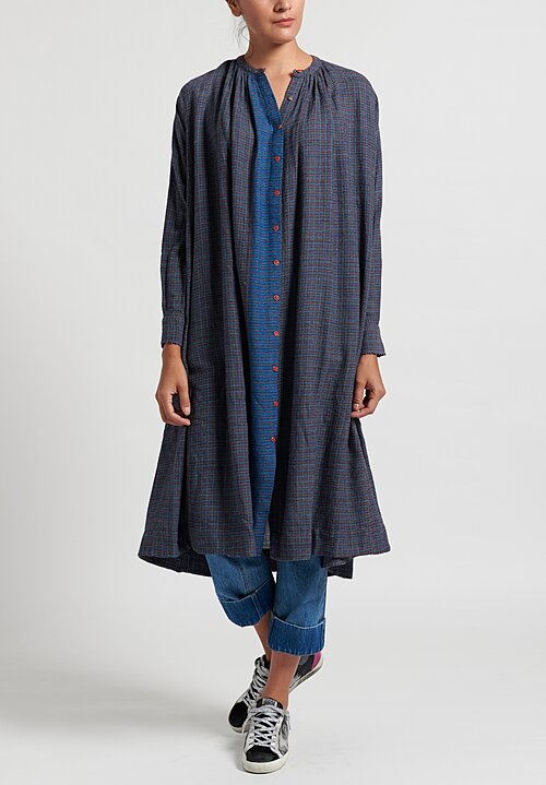 Pero Gathered Neck Tunic Dress	 in Blue Check