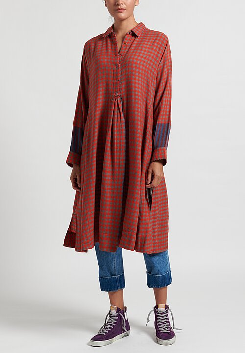 Pero Wool Side Slit Tunic in Red Check