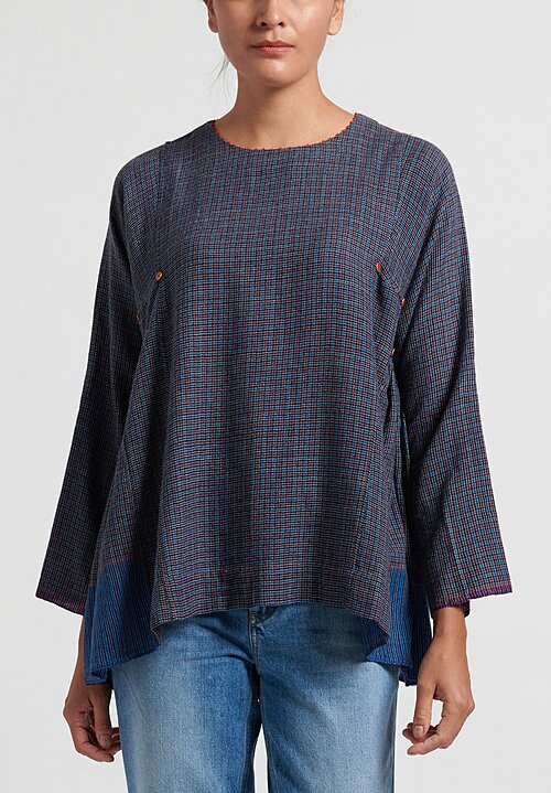 Pero Wool Gathered Top in Blue Check