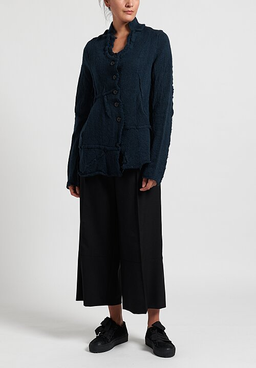 Rundholz Black Label Virgin Wool Asymmetric Fitted Cardigan in Petrol