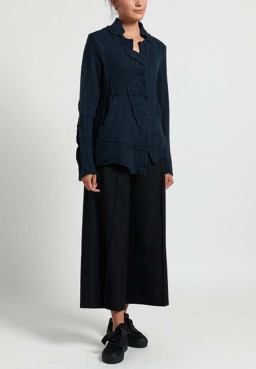 Rundholz Black Label Asymmetric Magnetic Closure Cardigan petrol