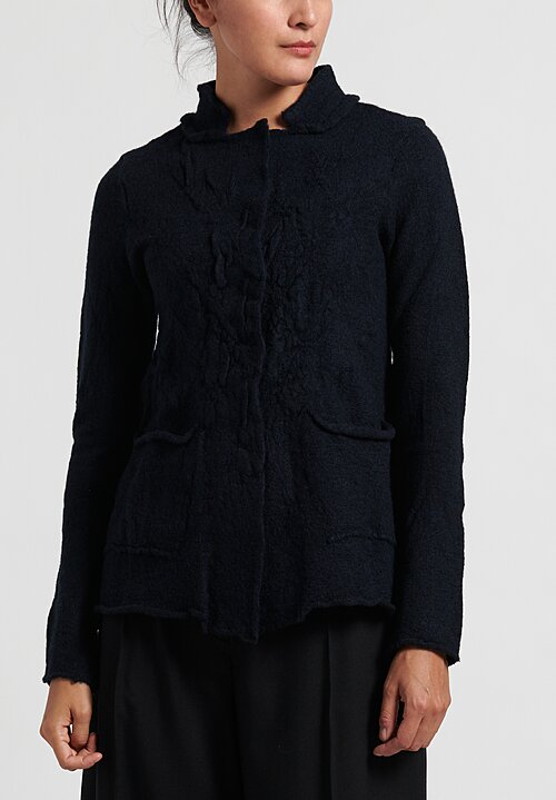 Rundholz Black Label Textured Wool Cardigan in Steel