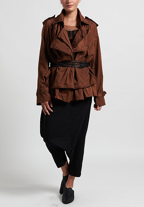 Rundholz Dip Asymmetric Gathered Jacket in Clay