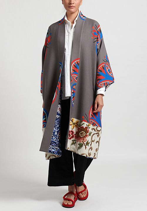 Rianna + Nina Reverisble Classic Archive Coat in Grey/Blue Floral