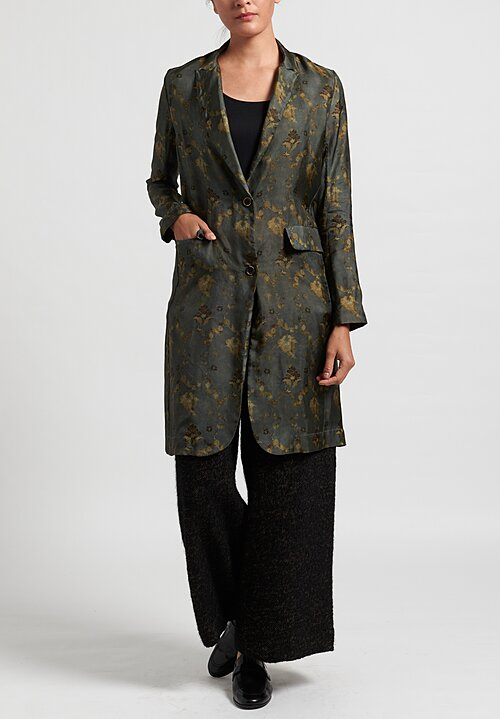 Uma Wang Katia Jacket in Steel Blue/Tan