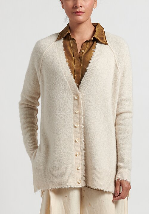 Uma Wang Frayed Edge Cardigan in Cream