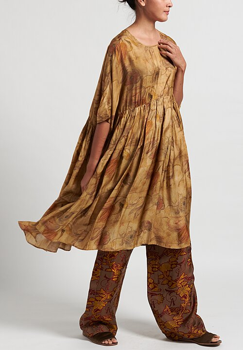 Uma Wang Adara Dress in Tan/ Mustard