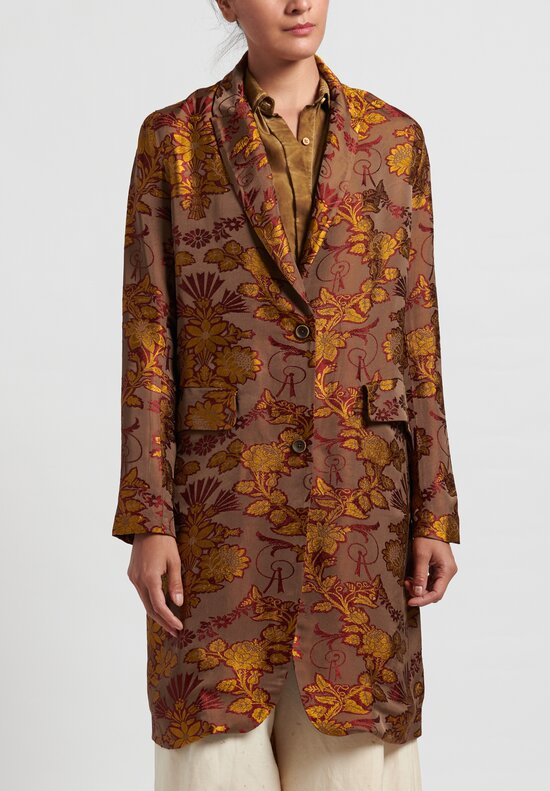Uma Wang Jacquard Katia Jacket in Coffee/Red