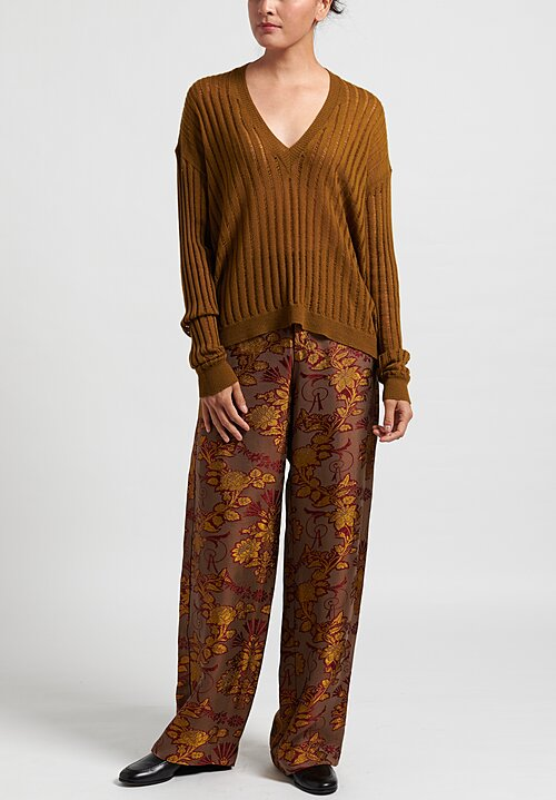 Uma Wang Polly Pants in Coffee/ Red