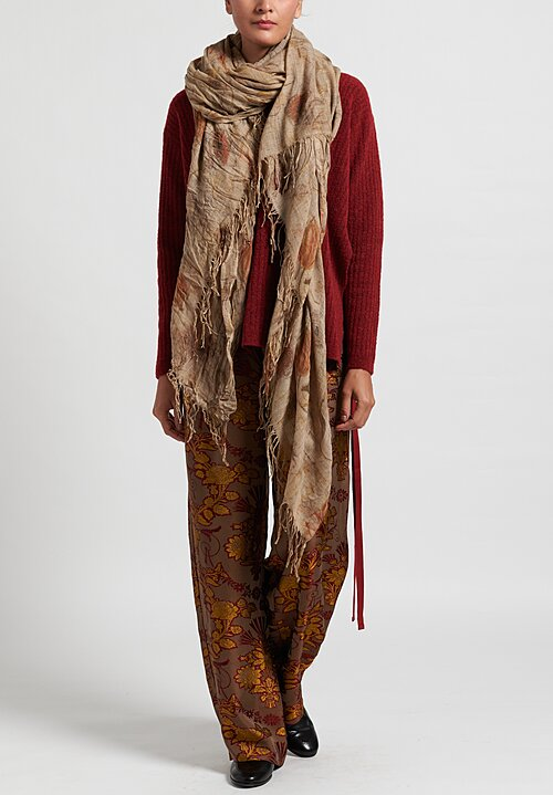 Uma Wang Virgin Wool Print Scarf in Tan/ Mustard