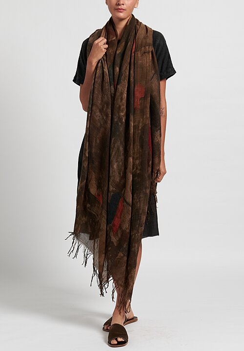 Uma Wang Virgin Wool Print Scarf in Brown/ Dark Red