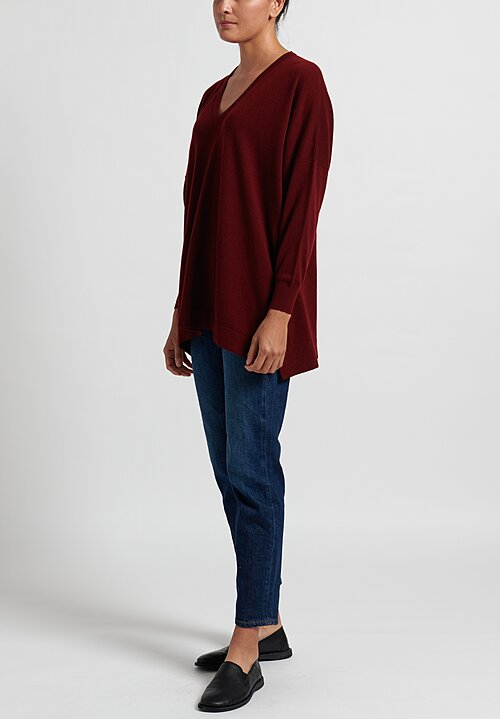 Hania New York Marley Cashmere V-Neck Sweater in Burgundy