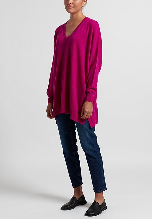Hania New York Marley Cashmere V-Neck Sweater in Pink