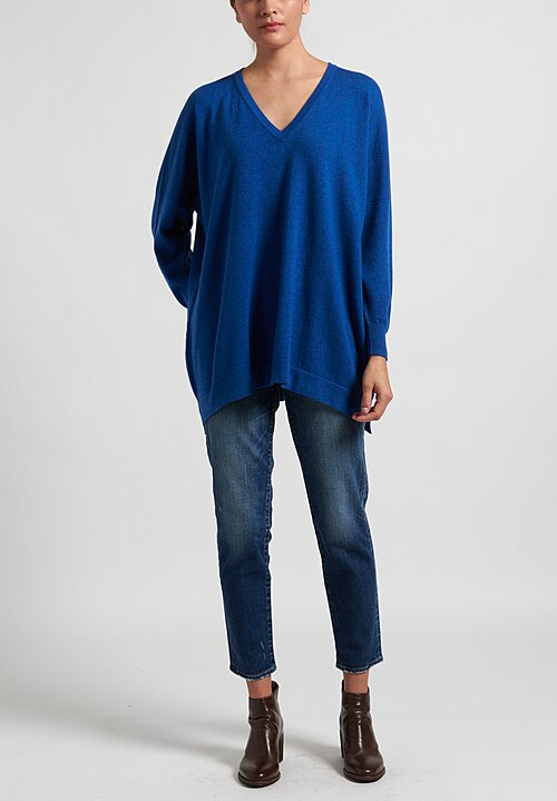Hania New York Marley Cashmere V-Neck Sweater in Olympian Blue