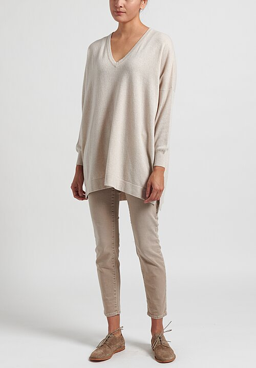 Hania New York Marley Cashmere V-Neck Sweater in Beige