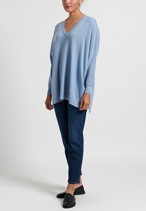 Hania New York Marley Cashmere V-Neck Sweater in Woad