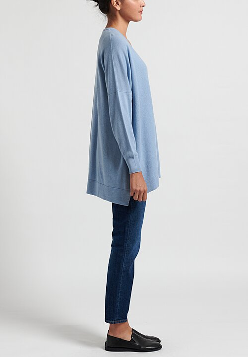 Hania New York Marley Cashmere V-Neck Sweater in Sky Blue
