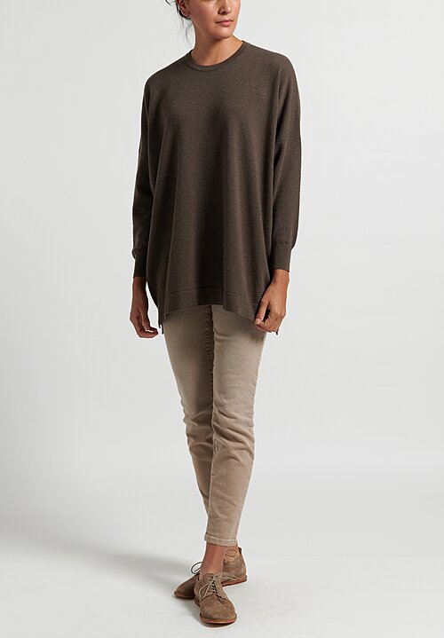 Hania New York Cashmere Marley Crewneck in Drab Bronze
