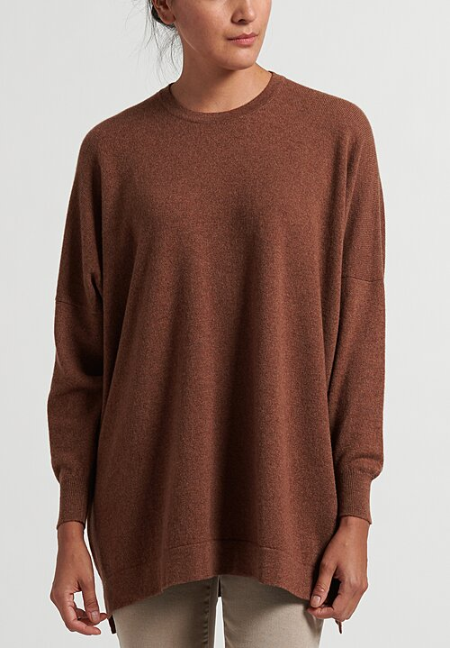 Hania New York Cashmere Marley Crewneck in Hazelnut