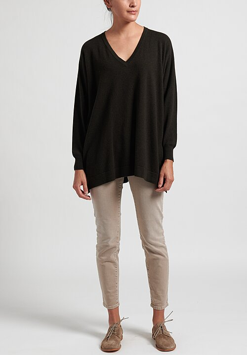 Hania New York Marley Cashmere V-Neck Sweater in Olive