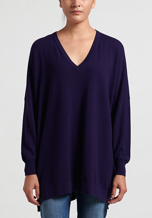 Hania New York Marley Cashmere V-Neck Sweater in Liquorice