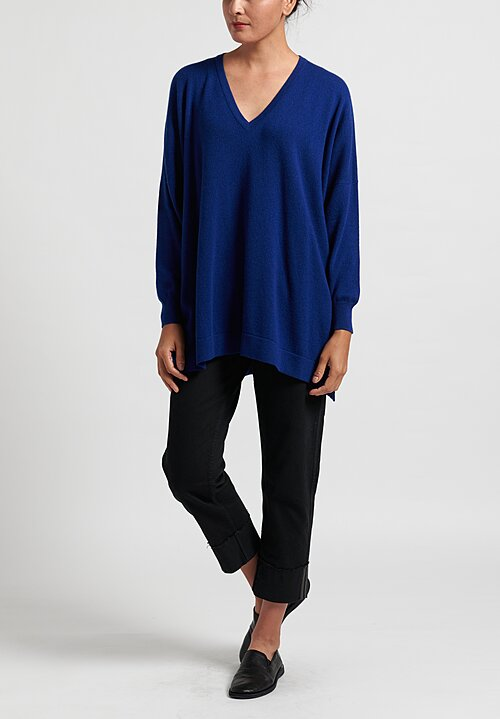 Hania New York Marley Cashmere V-Neck Sweater in Blue