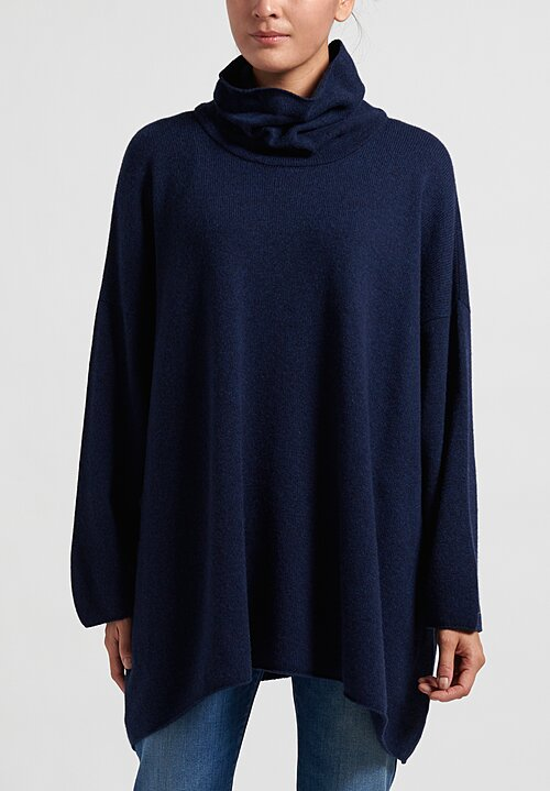Hania New York Cashmere Cowl Neck Sweater in Navy