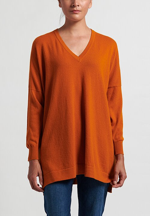 Hania New York Marley Cashmere V-Neck Sweater in Spice