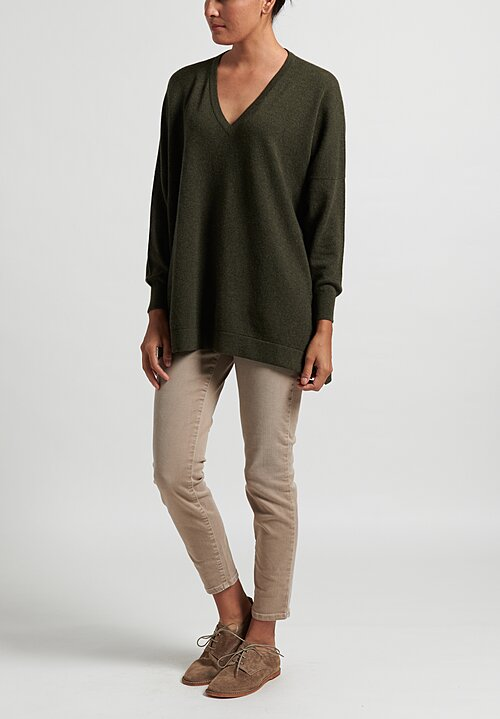 Hania New York Marley Cashmere V-Neck Sweater in Loden