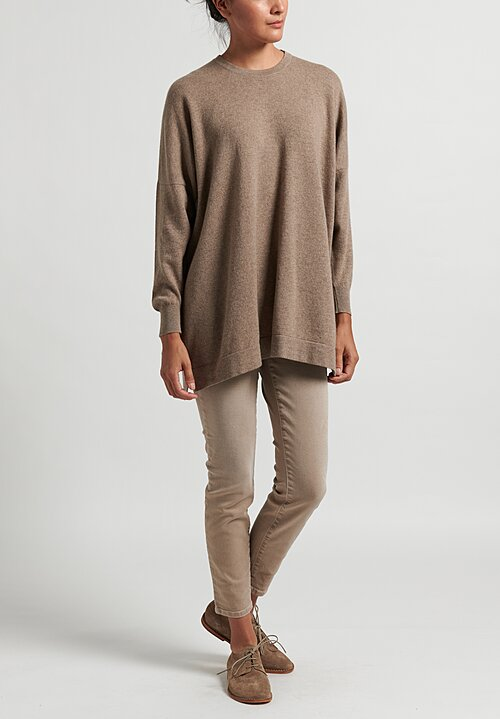 Hania New York Cashmere Marley Crewneck in Dark Natural
