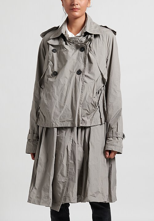 Rundholz Layered and Gathered Coat in Ashes